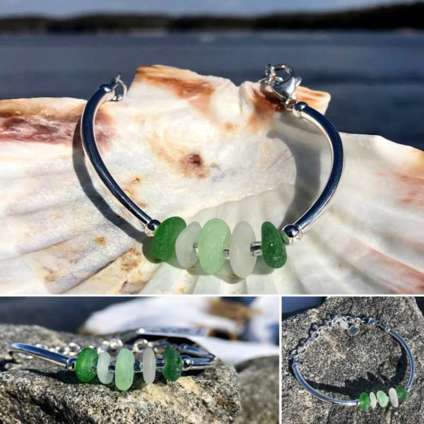 Green & White Sea Glass Adjustable Link Bracelet