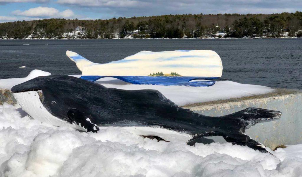 Handpainted Reclaimed Wood Whales