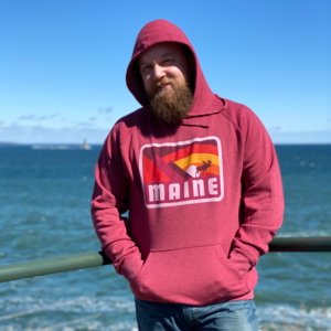 Red, Moose & Mountains Maine Hoodie.