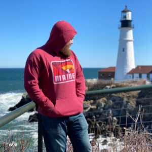Moose & Mountains Red Maine Hoodie