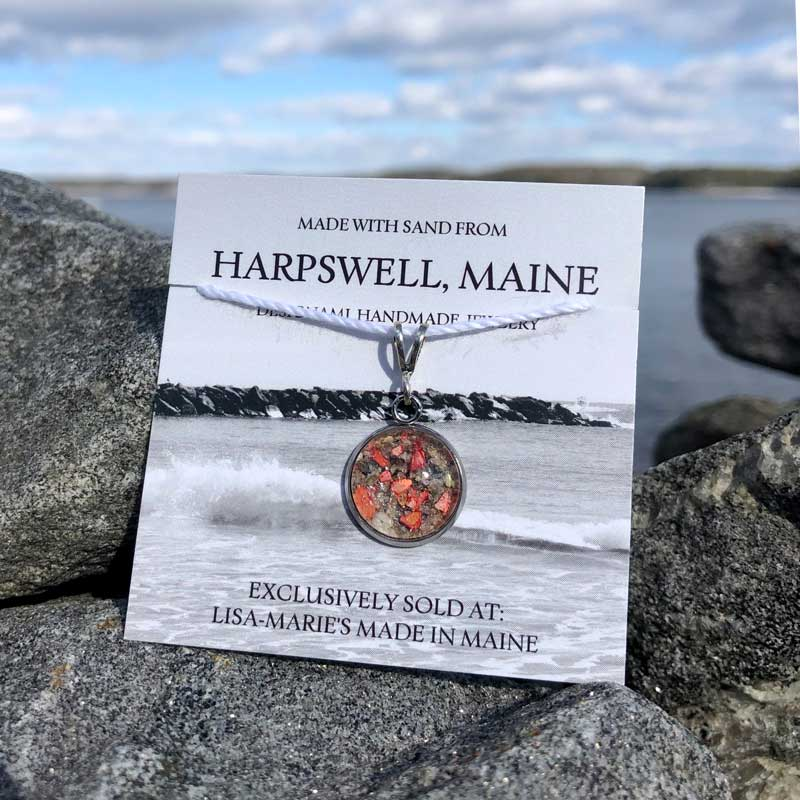 Small Harpswell Sand Pendant with Crushed Lobster Shell