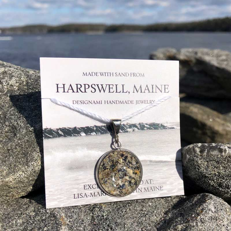 Large Harpswell Sand Pendant with Crushed Mussel Shell