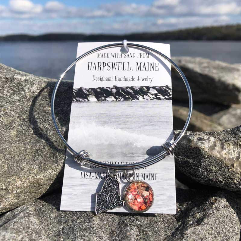 Caption Harpswell Beach Sand Bangle Bracelet with Crushed Lobster Shell Description