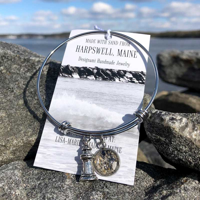 Harpswell Beach Sand Bangle Bracelet with Crushed Mussel Shell