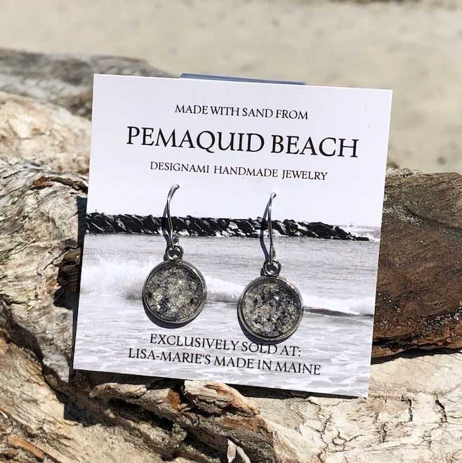 Pemaquid Beach Sand Earrings with Crushed Mussel Shell