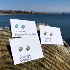 Green Opal Studs