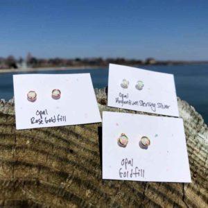 White Opal Studs