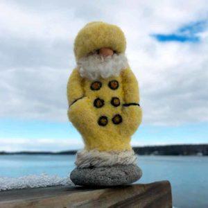 Yellow Felted Fisherman