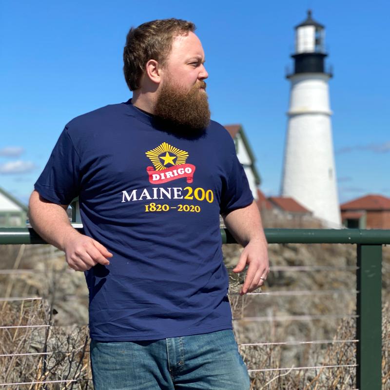 Navy Blue, Maine Bicentennial T-Shirt with Dirigo Logo.