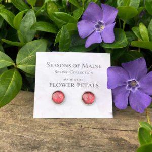 Pink Rose Petal Stud Earrings