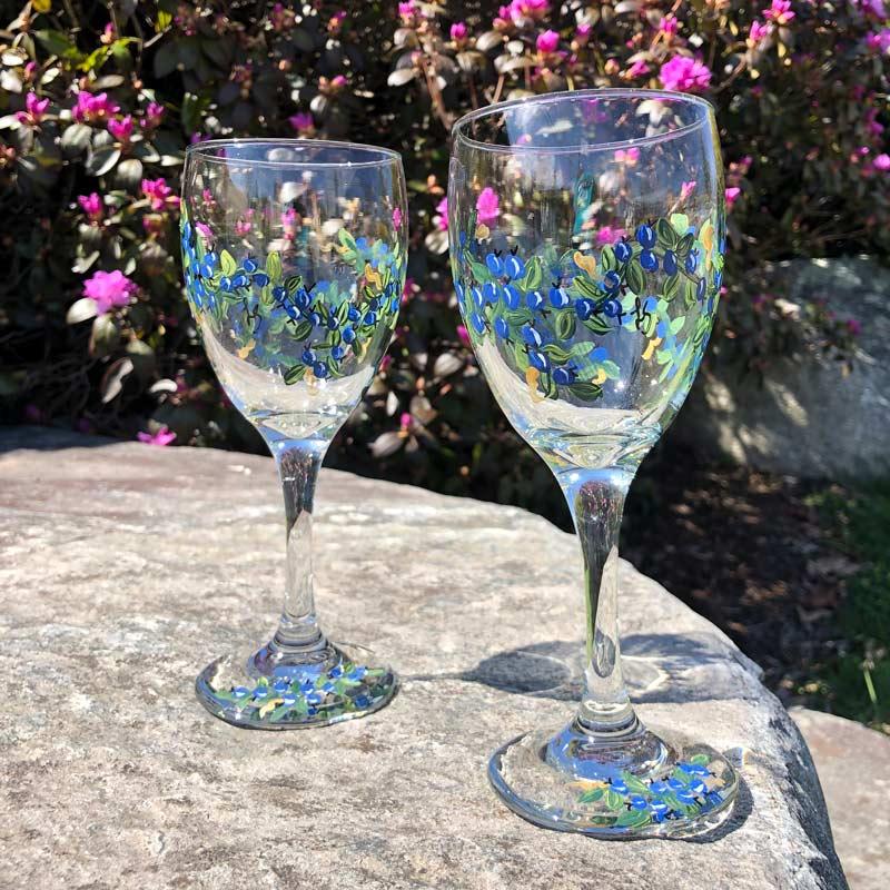 Blueberry, Wine Glasses.