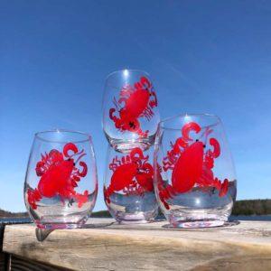 Lobster, Stemless, Wine Glasses.