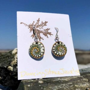 Olive Gold & White, Dot, Hand Painted, Beach Stone, Earrings.