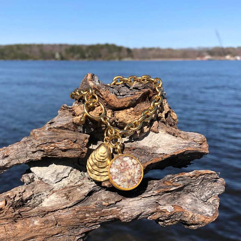 14K Gold Plated Crushed Oyster Shell Bracelet