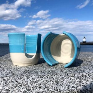 Aqua Blue and White, Sponge Holder by Becky Pottery.
