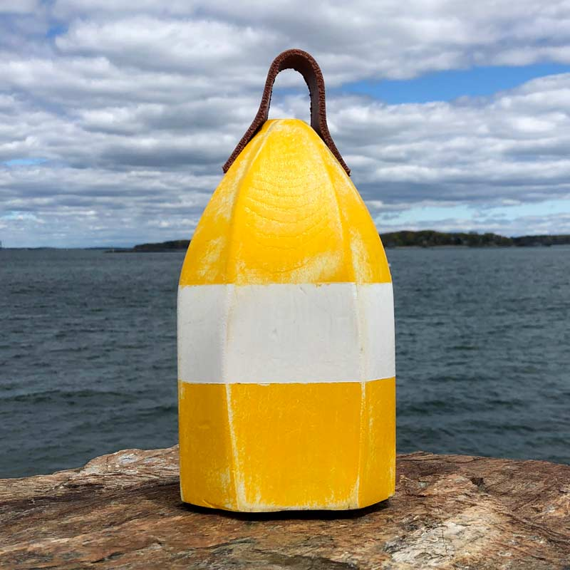 Small Distressed Yellow & White Lobster Buoy Centerpiece