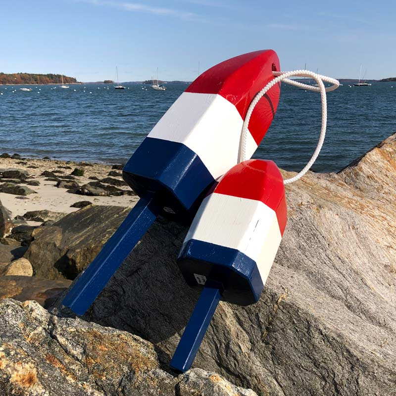 Glossy Red ,White and Blue Lobster Buoys with Rope