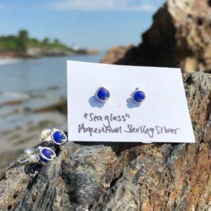 "Cobalt Blue ""Sea Glass"" Stud Earrings"