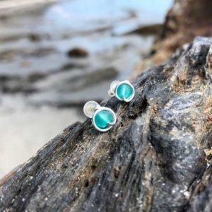 "Teal ""Sea Glass"" Stud Earrings"