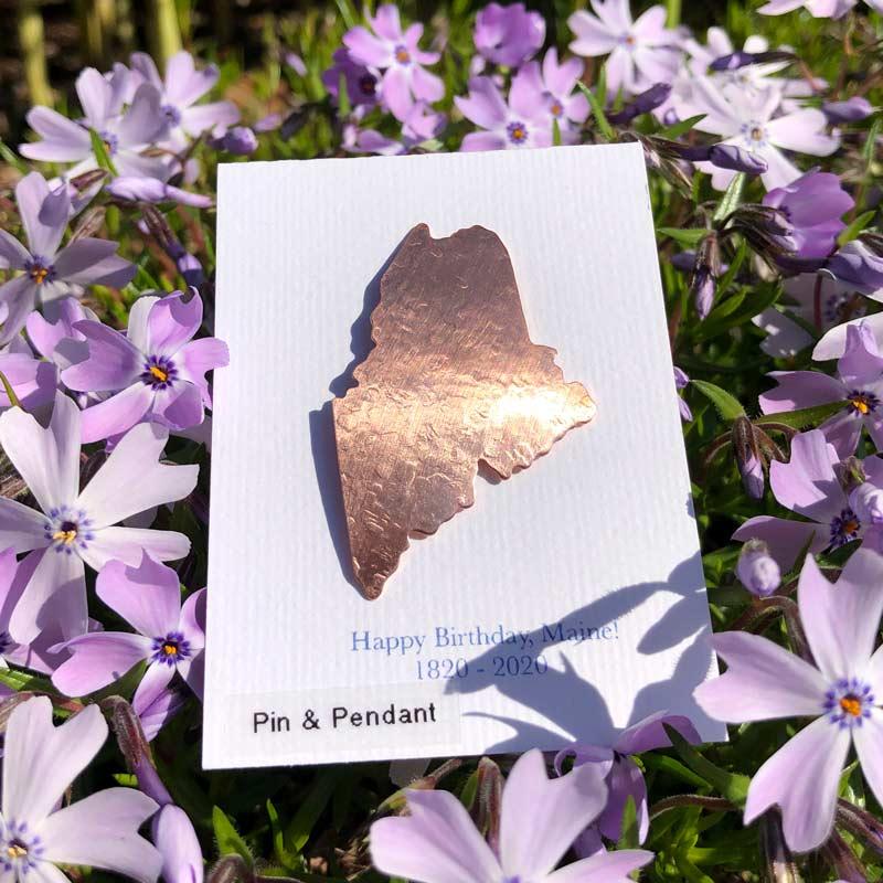 Medium Maine Pin or Pendant in Copper