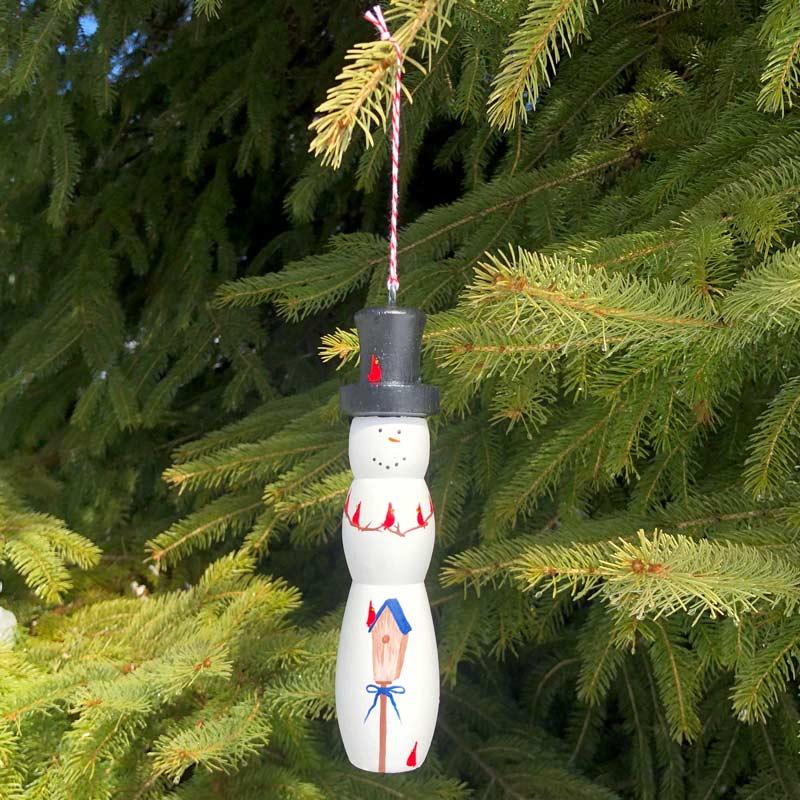 Wooden Snowman Ornament