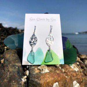 Silver Filigree Sea Foam Sea Glass Drop Earrings