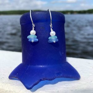 Light Blue & Sea Foam Stacked Sea Glass with Pearl Earrings