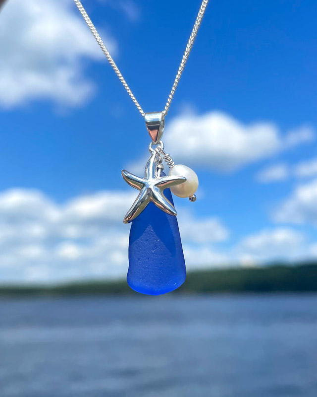 Cobalt Blue Sea Glass with Starfish and Pearl Necklace