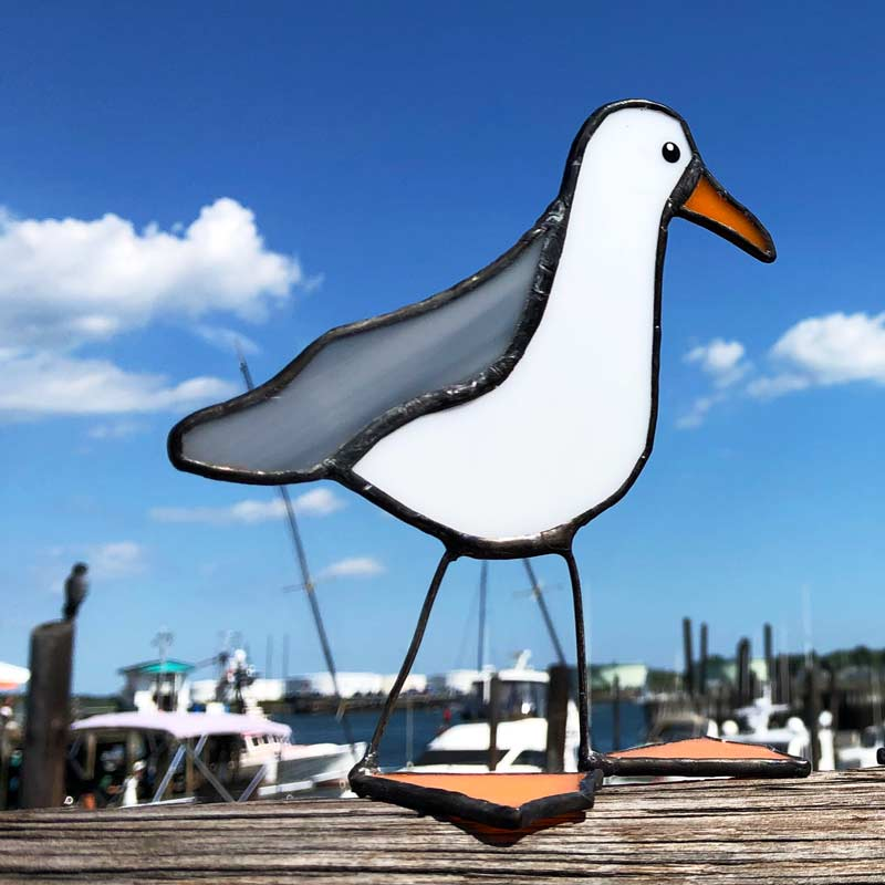 Stained Glass Grey Wing Gull - Single Wing
