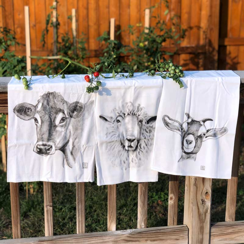 Farm Animal Tea Towel