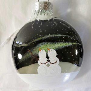 Northern Lights Snowmen Couple Ornament