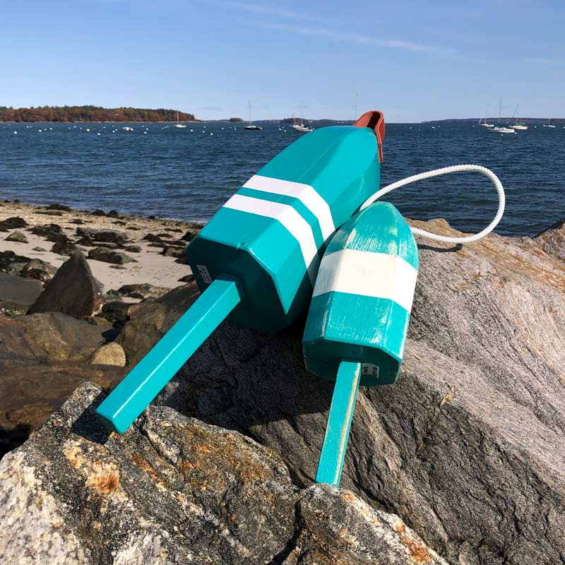 Teal & White Lobster Buoy