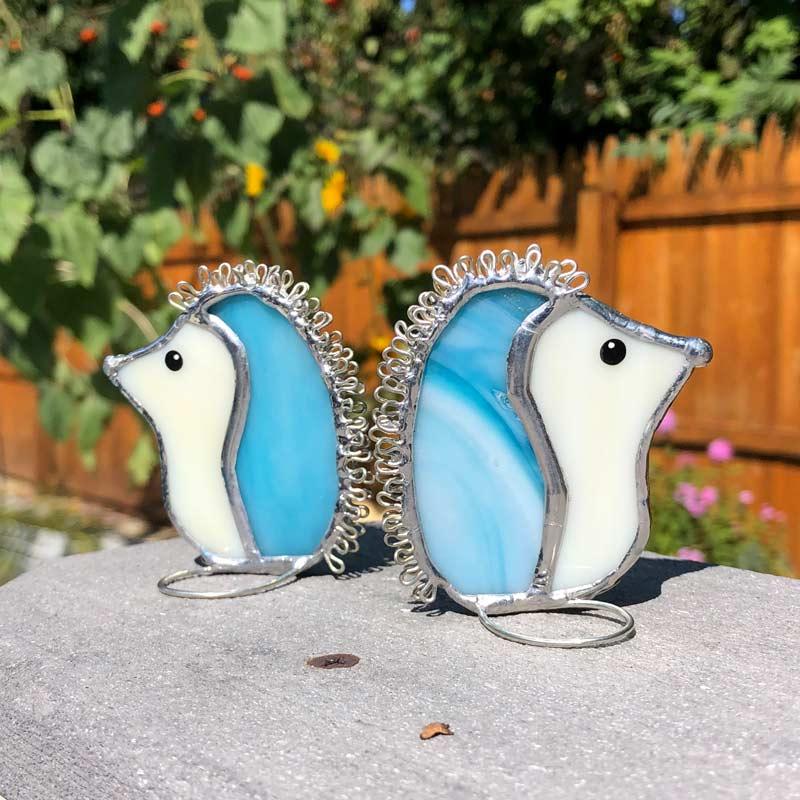 Sky Blue Stained Glass Hedgehog