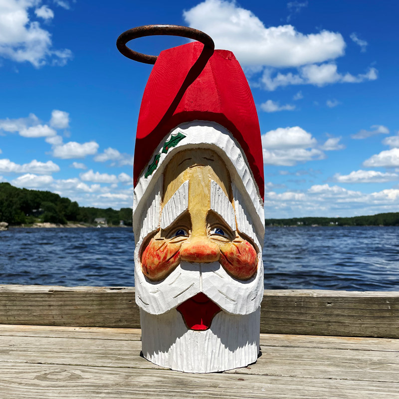 Extra Large Hand Carved Santa Buoy with Ring #8
