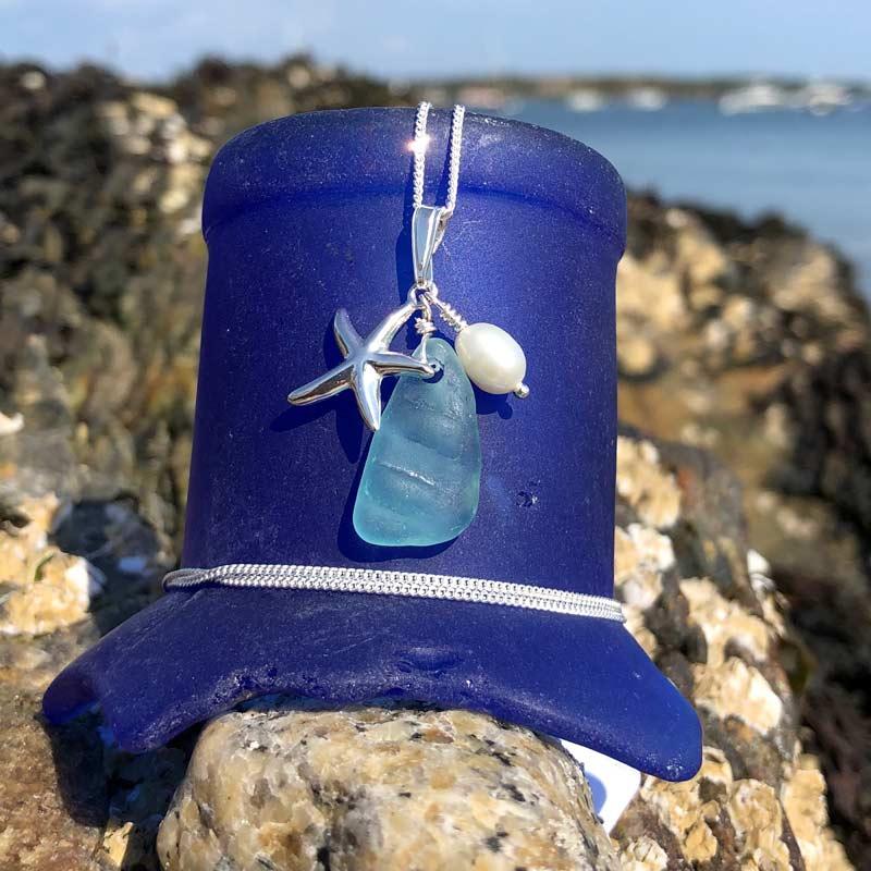 Sea Foam Sea Glass with Starfish & Pearl Necklace