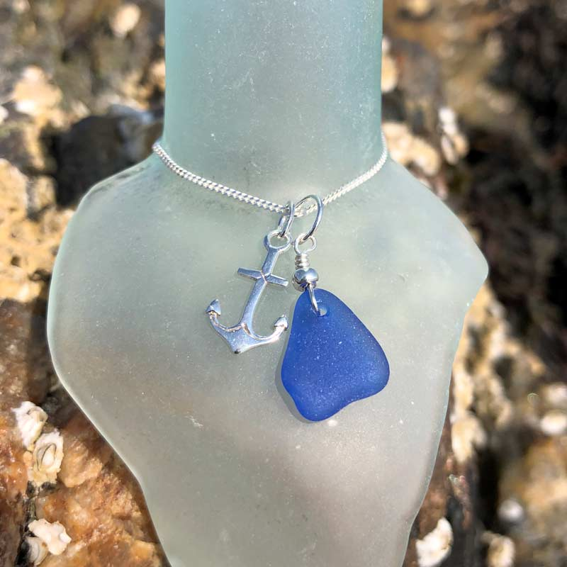 Blue Sea Glass with Tiny Anchor Necklace