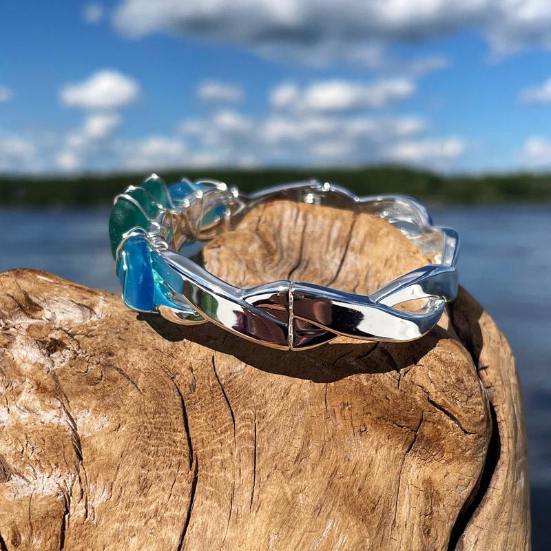 Aqua & Deep Teal Sea Glass Bracelet