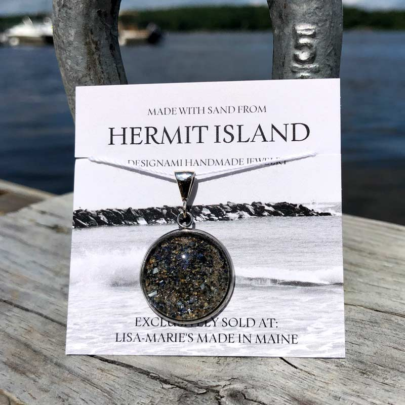 Large Hermit Island Beach Sand Pendant with Crushed Mussel Shell