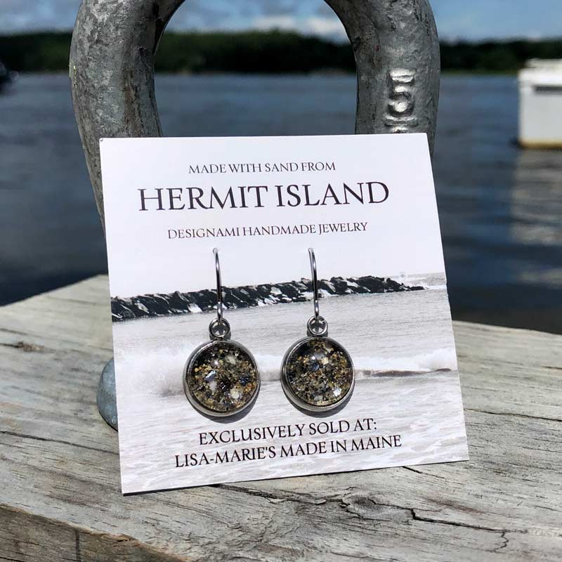 Hermit Island Beach Sand Earrings with Crushed Mussel Shell