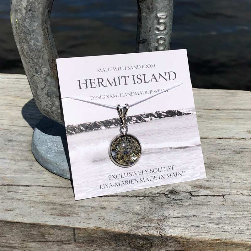 Small Hermit Island Beach Sand Pendant with Crushed Mussel Shell