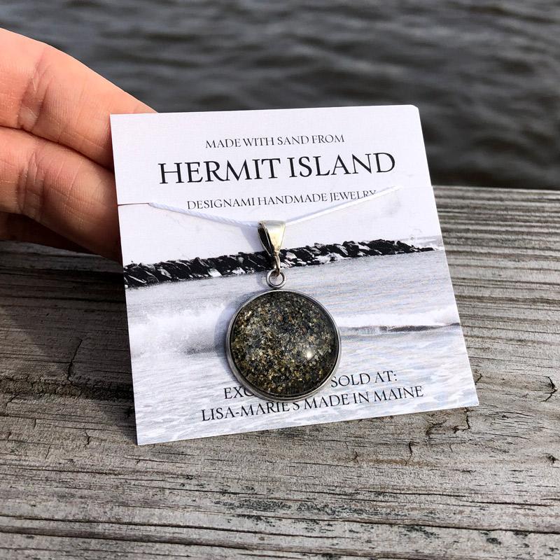 Hermit Island Beach Sand Pendant Large