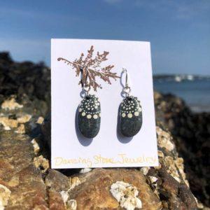 Long Round White Wave Beach Stone Earrings