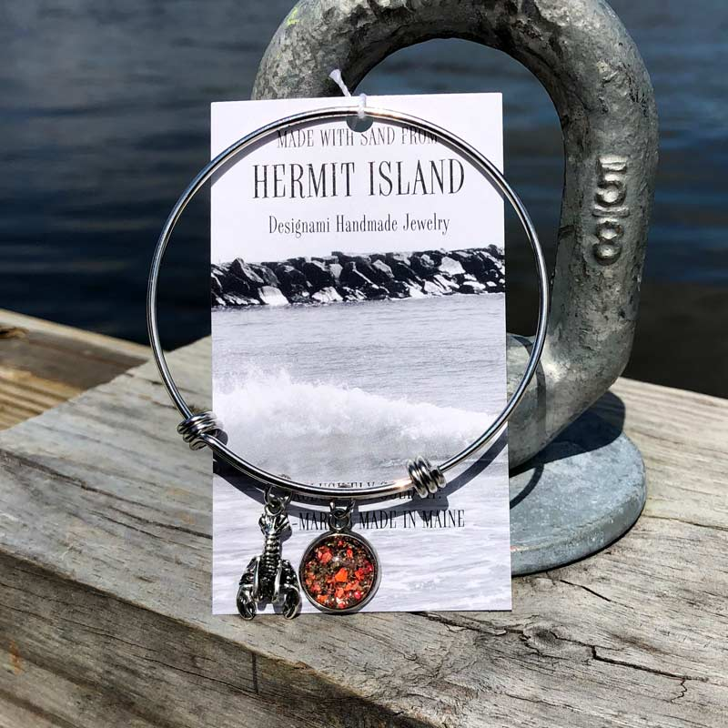 Hermit Island Beach Sand with Crushed Lobster Shell Bangle Bracelet