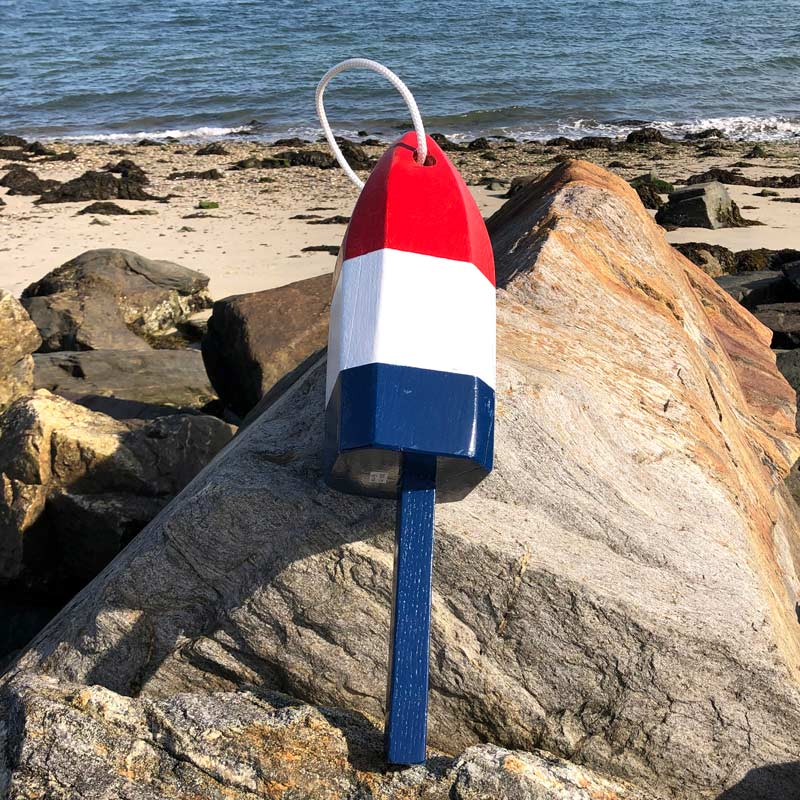 Large Glossy Red, White & Blue Lobster Buoy with Rope