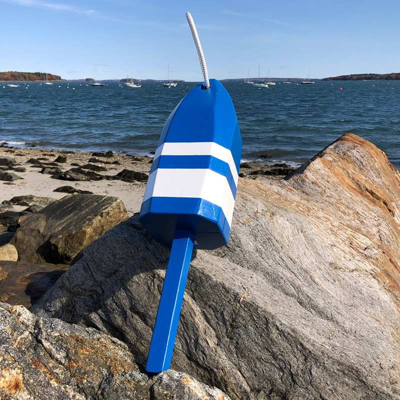 Large Blue with White Stripes Glossy Buoy with Rope