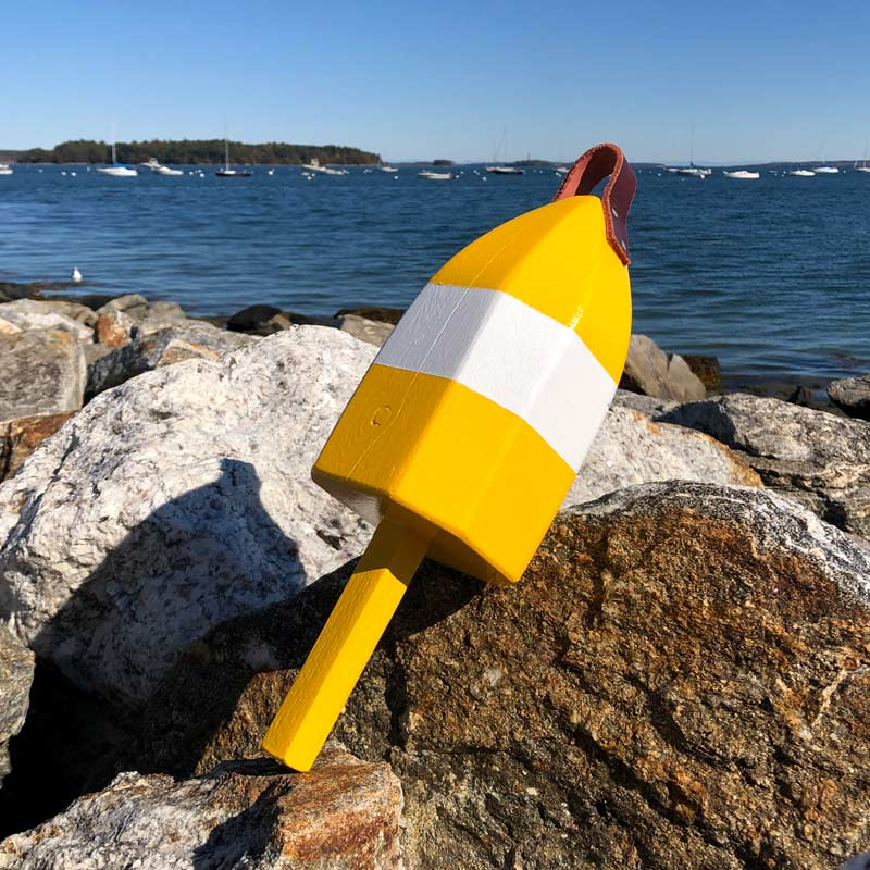 Small Glossy Yellow and White Lobster Buoy with Leather