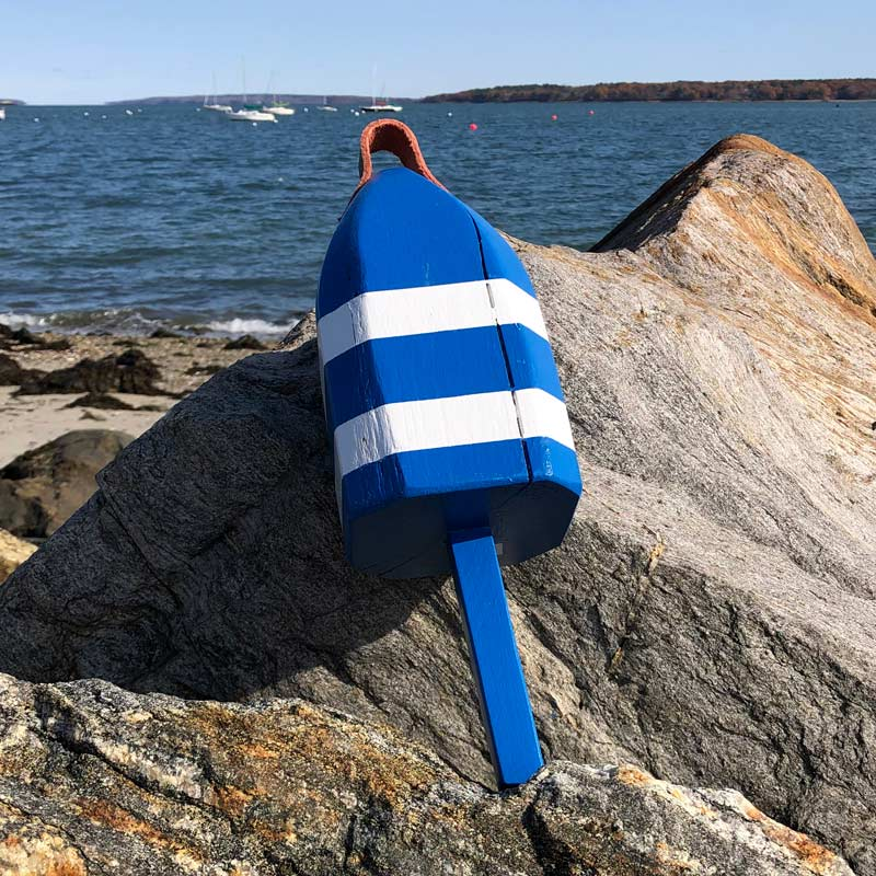 Small Blue & White Glossy Lobster Buoy