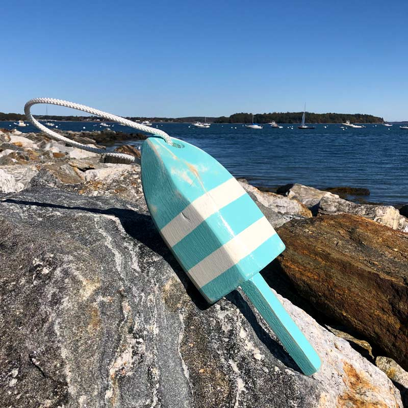 Small Distressed Sea Foam with White Stripe Lobster Buoy with Rope