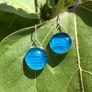 Big Striped Azure Glass Earrings