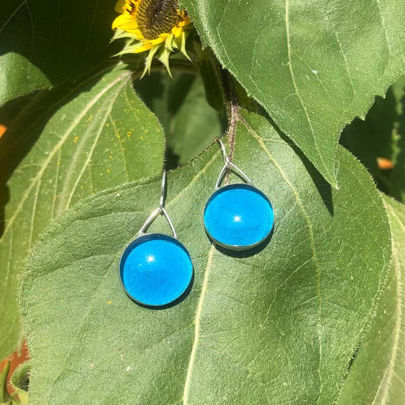 Big Azure Glass Earrings